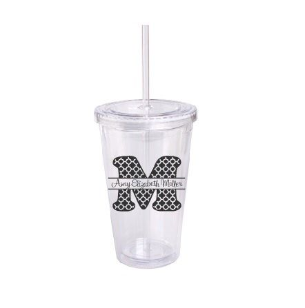 A personal favorite from my Etsy shop https://www.etsy.com/listing/287762361/personalized-acrylic-tumbler-with-straw
