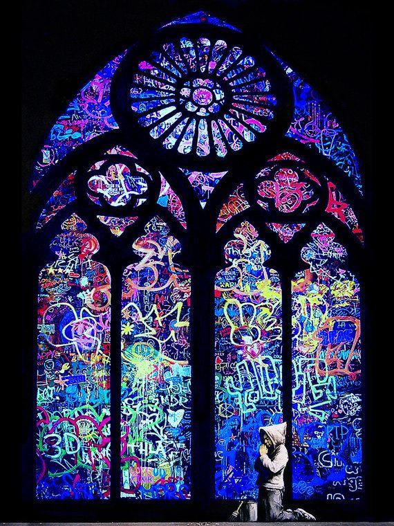 HUGE Banksy canvas Blue Stained Glass Boy Praying Street Art Grafitti 30 x 40 inch premium print