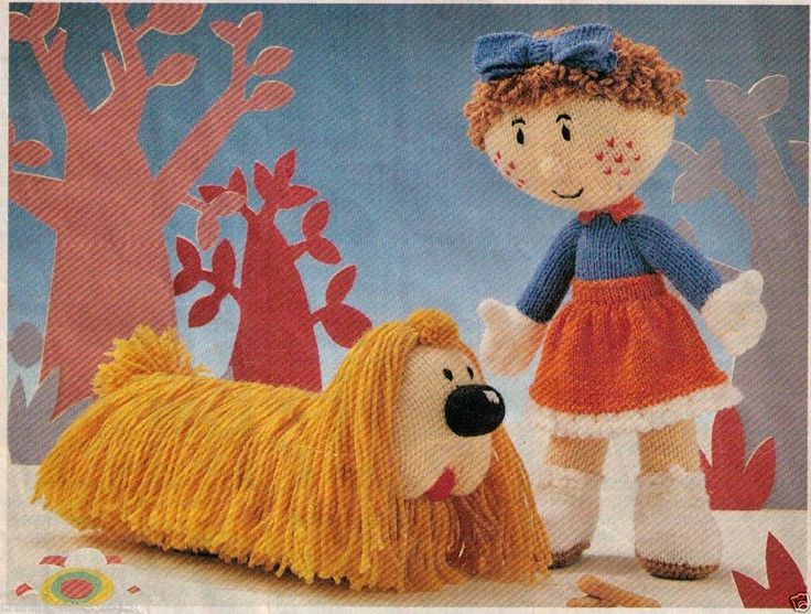 VINTAGE THE MAGIC ROUNDABOUT FLORENCE & DOUGAL SOFT TOYS - 8PLY KNITTING PATTERN