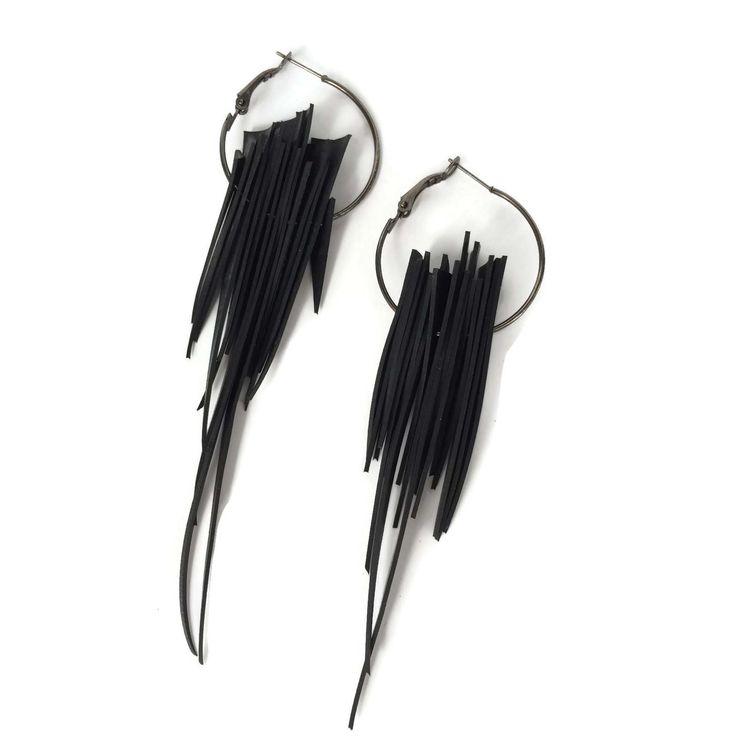 Long spiky upcycled inner tube earrings