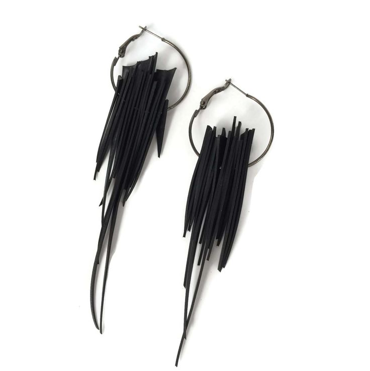 Long spiky upcycled inner tube earrings