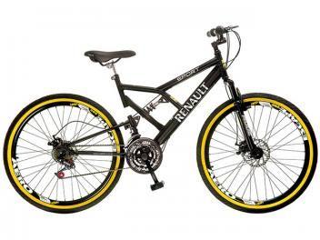 Bicicleta Colli Bike Renault Aro 26 21 Marchas - Dupla Suspensão Quadro de Aço Freio a Disco