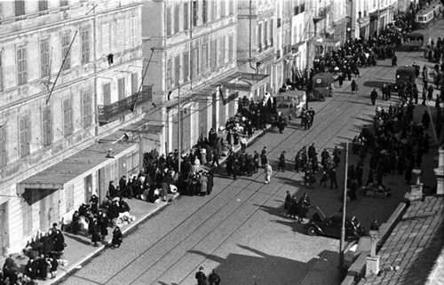 The deportation of French Jews from Marseille, the port district in 1943.