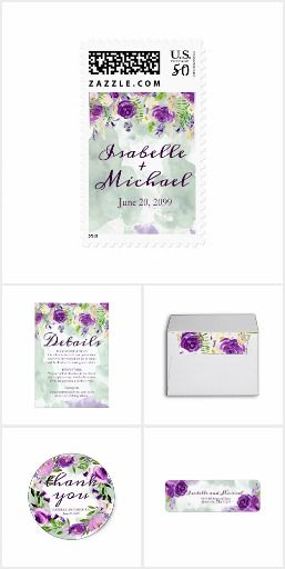 Ultra Violet Floral Wedding Suite. Beautiful watercolor design that combines deep ultra-violet purple flowers, bright greenery and soft green and purple watercolor washes. The top of the wedding invitation features ultra violet roses and dangling flowers and greenery. The remainder of the design is soft green watercolor washes that sweep across the page a dash of purple defines the bottom of the page #ad