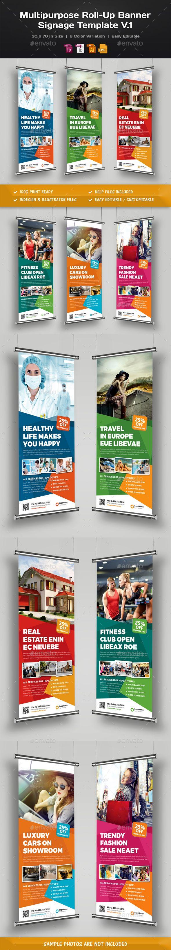 Design large banner in illustrator - Multipurpose Roll Up Banner Signage Template Vector Eps Indesign Indd Ai Illustrator