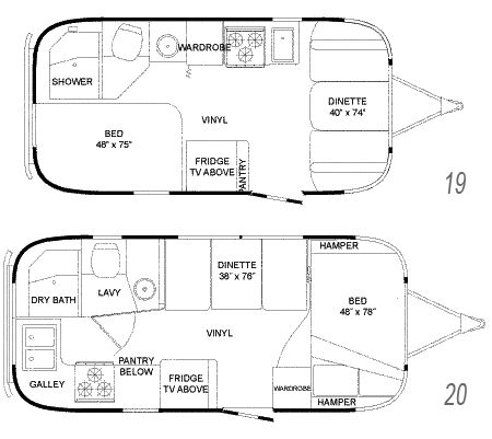 Airstream Flying Cloud travel floorplans - 19' and 20' models