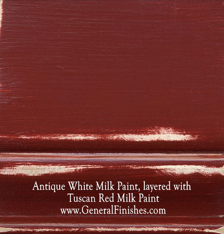 Antique White Milk Paint, layered with Tuscan Red Milk Paint by www.GeneralFinishes.com. Perfect for indoor or outdoor  furniture & projects - check out http://www.generalfinishes.com/retail-products/water-base-milk-paints-glazes Intermixable - easier to use than chalk paint! Mix it, lighten it, distress it, glaze it, antique it - the only limit is your imagination. Available at unfinished furniture stores - http://www.buyunfinishedfurniture.com, Rockler and Woodcraft Woodworking stores.