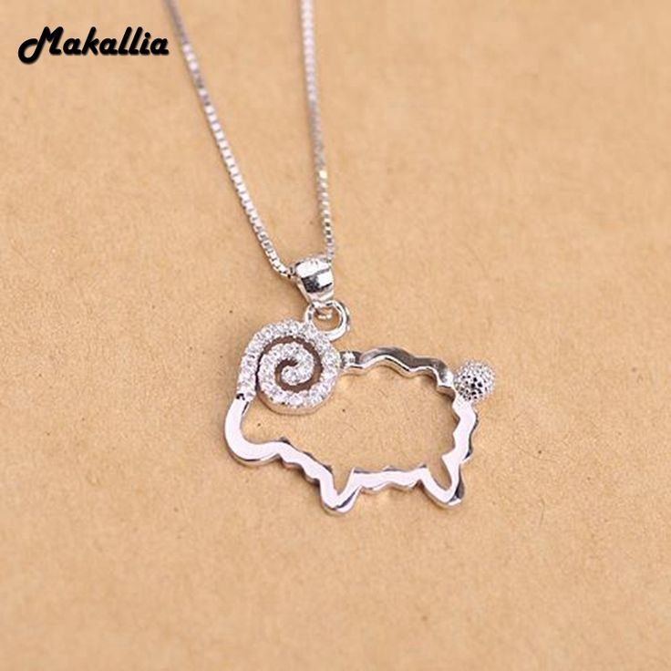 Makallia 925 Sterling Silver Hollow pig  Pendant Necklace Long Chain Necklace Jewelry Wedding Necklace Accessories