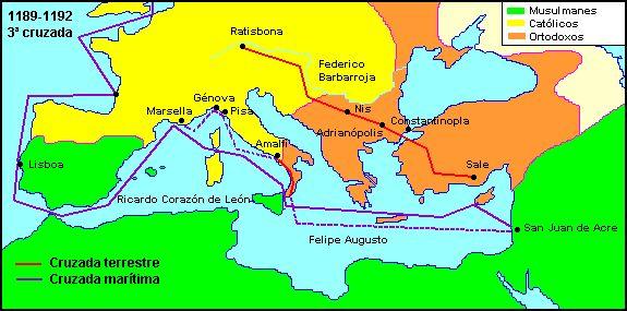 Tercera cruzada. También conocida como la Cruzada de los Reyes, fue un Intento de los líderes europeos para reconquistar la Tierra Santa de manos de  Saladino
