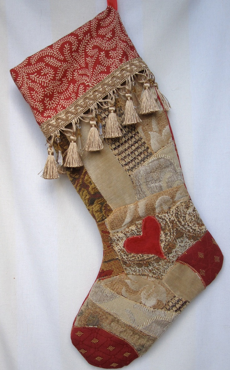 Victorian christmas decorations diy - Christmas Stocking Victorian Crazy Quilt Patchwork In Red Cream Tan With Rose Velvet Heart And Fancy Bead And Tassel Trim