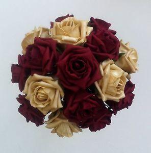 burgandy wedding   Burgundy/Gold Roses Brides/Bridesmaids Wedding Bouquet Flowers ...