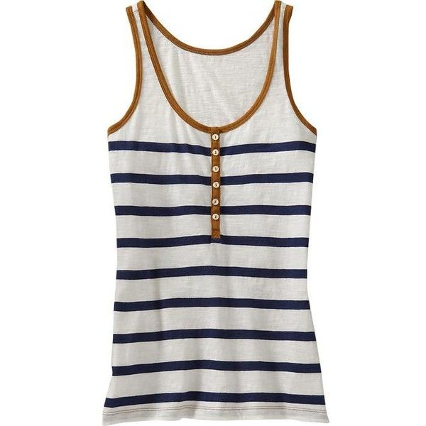 Old Navy Womens Striped Henley Tank Top ($9.99) ❤ liked on Polyvore featuring tops, tank tops, shirts, tanks, women, stripe shirt, henley tank top, old navy, fitted striped shirt and striped tank top