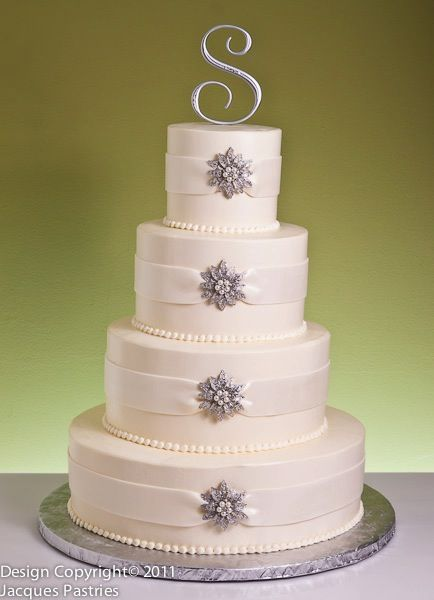 """[another gorgeous cake. do lilac ribbons to """"wrap"""" the gray pieces. no S... maybe bride/groom topper, or make an edible gray piece to match the others on the topside of the cake]"""