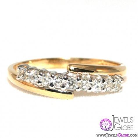 single row diamond yellow gold anniversary rings