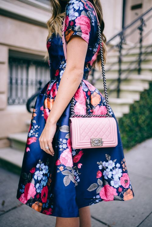 Gal Meets Glam Full Skirt Floral Dress and Pink Chanel Bag