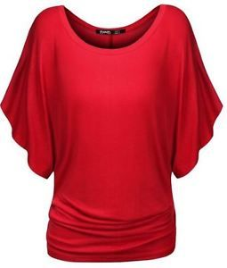 NWT-Thanth-Womens-Short-Kimono-Sleeve-Top-Ruched-Boat-Neck-Dolman-RED-X-Small