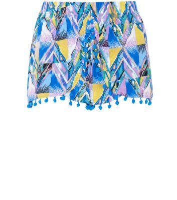 Mandi Blue Geo Print Pom Hem Shorts