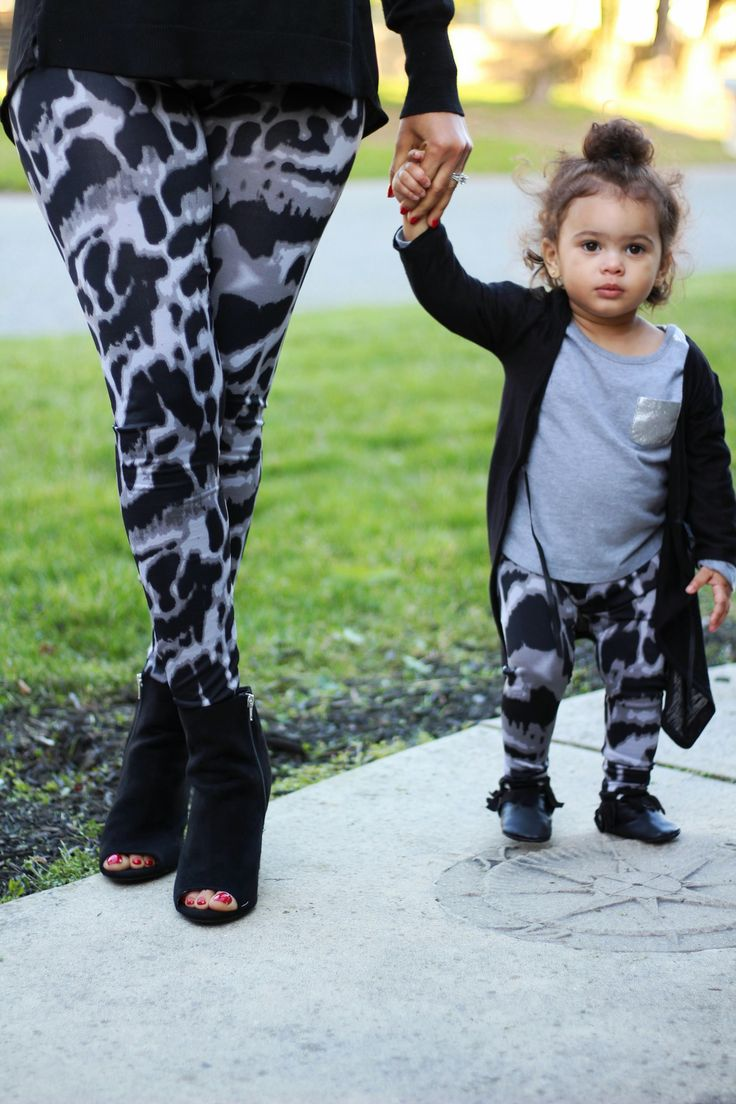 Mommy and Me Yoga Pants - Black and Grey