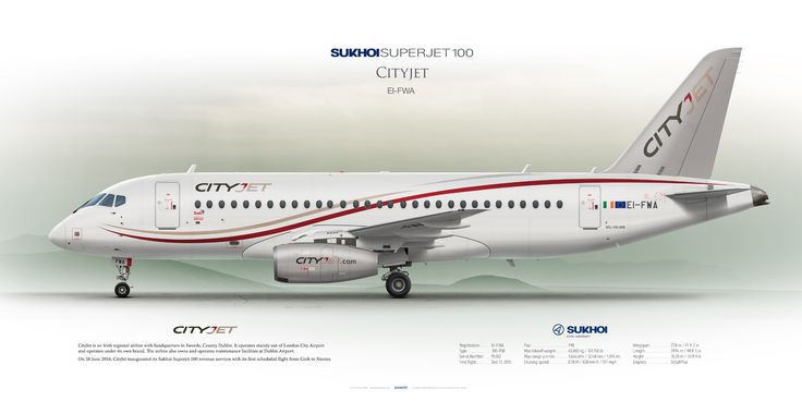 Sukhoi Superjet 100 Cityjet EI-FWA | www.aviaposter.com | Civil aircraft art print | #scetch #art #airliners #aviation #aviaposter #jetliner