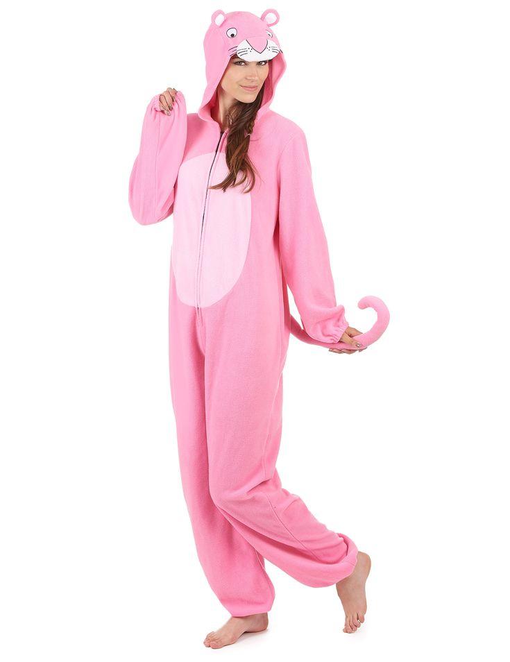 Traje con capucha pantera rosa mujer: Este traje es de pantera rosa y para mujer.El tejido es polar y rosa con gomas en puños y muñecas.La cola está cosida y se puede modular. Se cierra con...