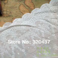 Швейцарский хлопок вышивка муслин ушко аппликация кружева цветок белый кот 28 см купить на AliExpress