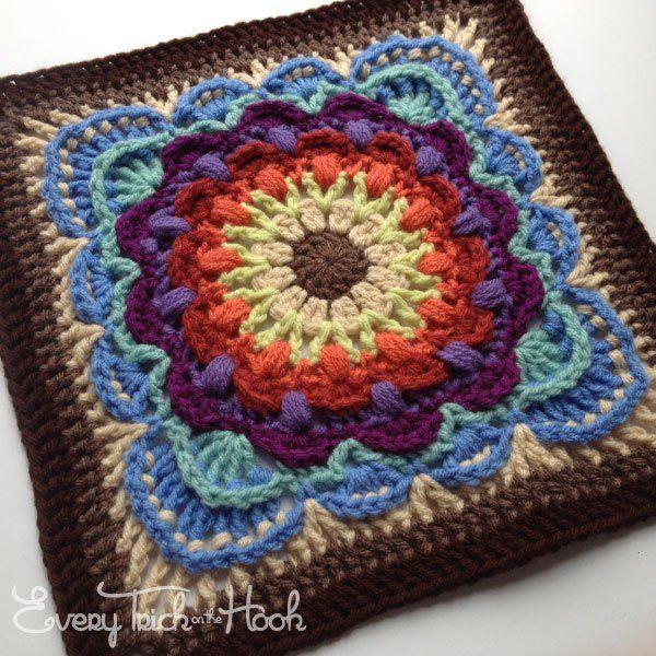 fan dance crochet afghan block