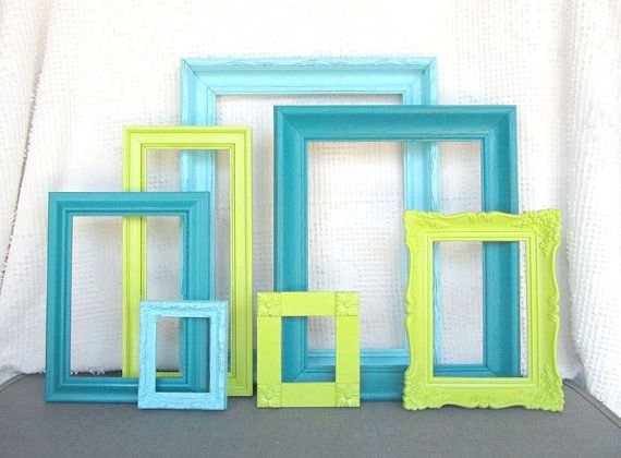 Lime Green Aqua Teal Turquoise Custom Frames Open or Frames with GLASS You Choose Frame Collection Peacock Blue Chartreuse Green Aqua