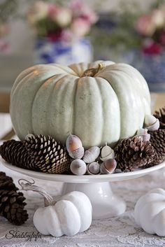 Styling A Romantic And Elegant Thanksgiving Table  Styling A Romantic And Elegant Thanksgiving Table How to set a fall or autumn table using pumpkins, pinecones and acorns in a French country romantic style. #fallcenterpiece #frenchcountrytable