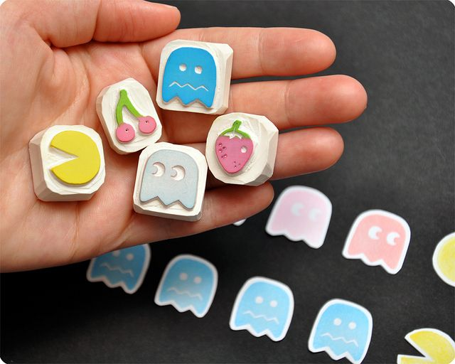 Pac-Man hand carved rubber stamp set by Memi The Rainbow, via Flickr