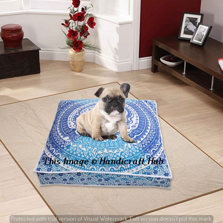 Indian Mandala Floor Pillow Cover Square Ottoman Seating