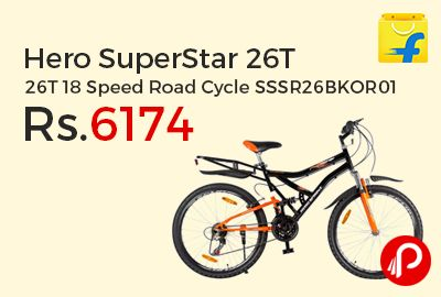 Flipkart is offering 38% off on Hero SuperStar 26T 18 Speed Road Cycle SSSR26BKOR01 at Rs.6174 Only. 26 inch Tire Size, 18 inch Frame Size. Fitted with Shimano front and rear derailleurs and a 6-speed freewheel for smooth gear changing and minimal chain slip.  http://www.paisebachaoindia.com/hero-superstar-26t-18-speed-road-cycle-sssr26bkor01-at-rs-6174-only-flipkart/
