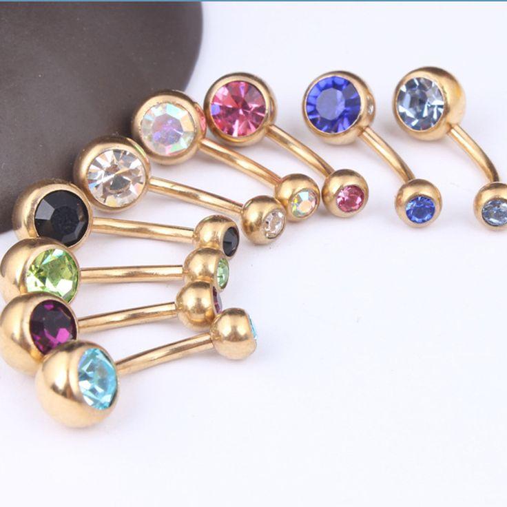 Hot 1 Stück Unisex Charme Vergoldet Kristall Strass Bauchnabel Ring Körper Piercing Schmuck 9 Farben