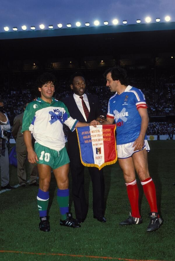 Pelé, Maradona & Platini  promote an anti-drugs match,1988. In 1994 Maradona would fail a drug test.