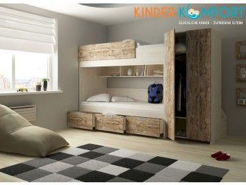 funktionales etagenbett integrierter schrank mit kleiderstange und 2 ablagefchern 4 schubladen in treppenform 3 groe schubladen 3 regalfcher - Coolste Etagenbetten