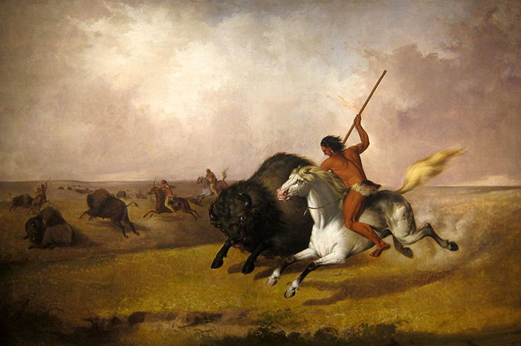"""John Mix Stanley, one of Kane's contemporaries, was an itinerant artist and photographer known for his landscape paintings. John Mix Stanley, """"Buffalo Hunt on the Southwestern Prairies,"""" 1845, Smithsonian American Art Museum."""