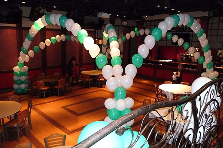 Quinceanera balloon decorations mint balloon arch for Balloon decoration ideas for quinceaneras