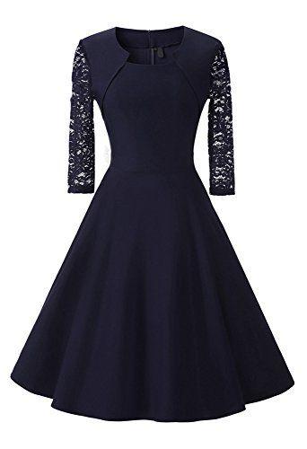 Damen Abendkleid 3 4 Ärmel-Spitzenkleid mit Angenähtem-Bolero, (Kostor)  A-line und Empire Taille Kleider, Knielang Elegant Cocktailkleid mit Spitzen  4 ... dd316fb683