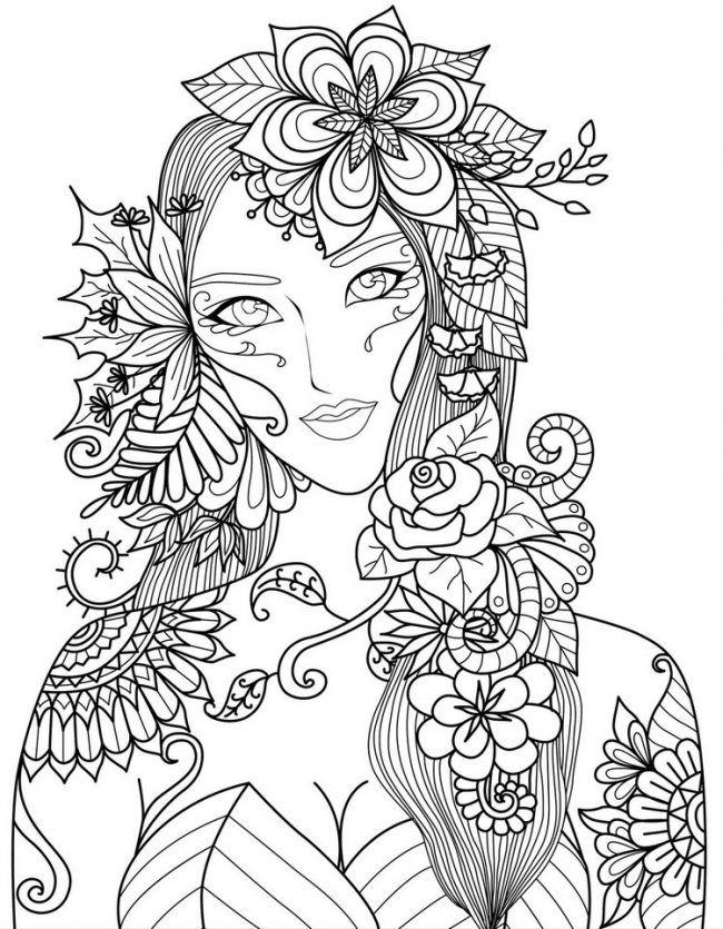 ausmalbildererwachseneausdruckenfraublumenhübsche
