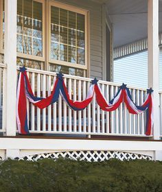 Easy decoration for our Relay campsite this year since our theme is 4th of July- strips of red, white, and blue fabric twisted together to create bunting above our tent?