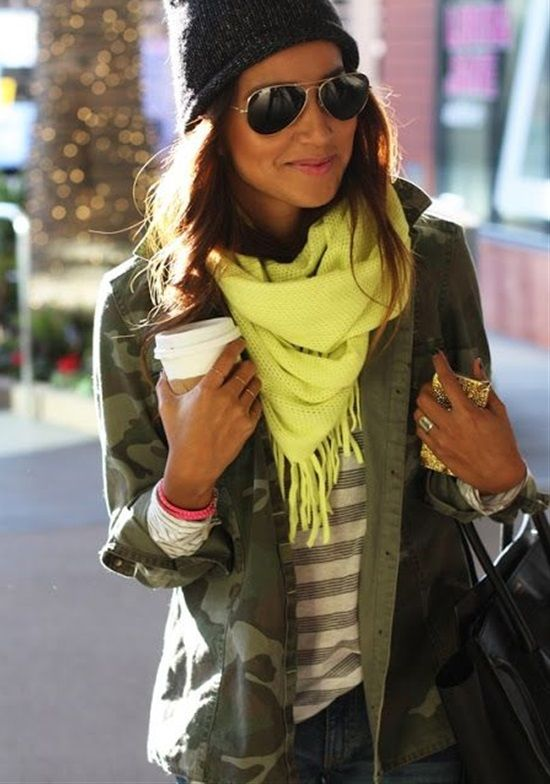 Camouflage Jacket With Striped T-Shirt and Neon Scarf