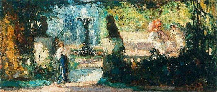 Robert Graafland ( 1875-1940 ) Dames in de Italiaanse tuin.
