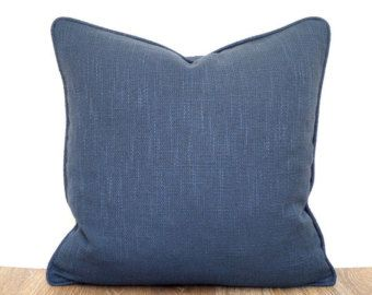 Check out Navy blue accent pillow cover 18x18 maritime decor, blue decorative pillow case dorm decor, plain cushion piping, textured sofa cushion on anitascasa