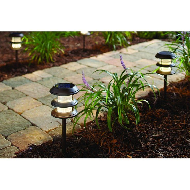 Hampton Bay Solar Powered Landscape LED Mediterranean Bronze Ribbed Plastic Lens Outdoor Path Light with 3-Tier (6-Pack)-29839 - The Home Depot