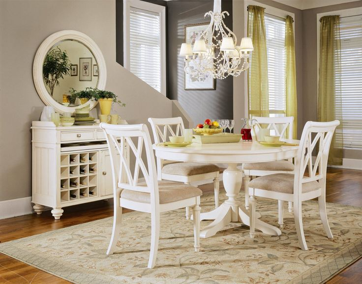 American Drew Camden 5 Pc Round Table Dining Set In White
