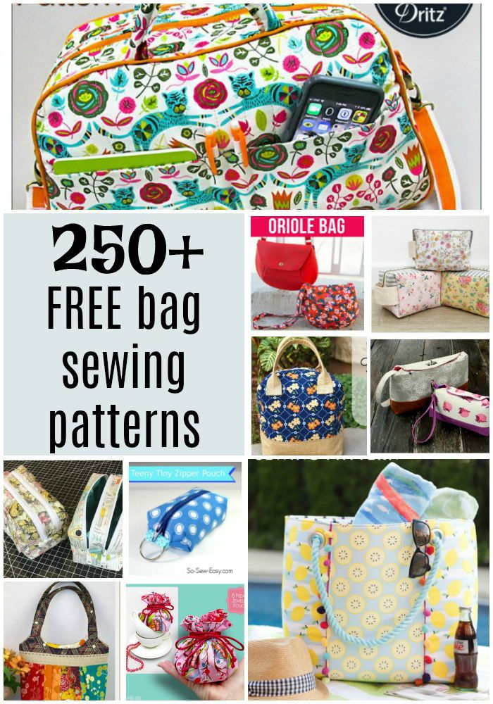 a6146ad31 250+ FREE bag and purse sewing patterns. Zipper bags, pouches, shoulder bags