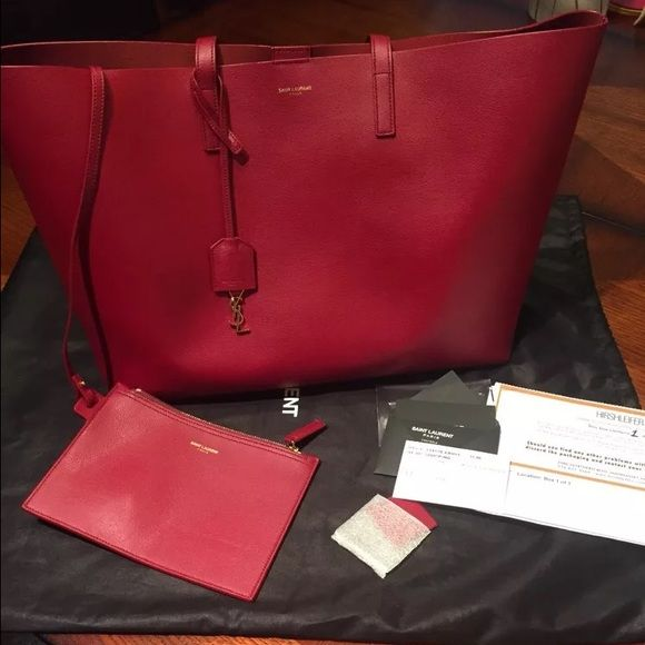 ysl look - YSL Saint Laurent Large Shopping Tote Oxblood Brand new YSL tote ...