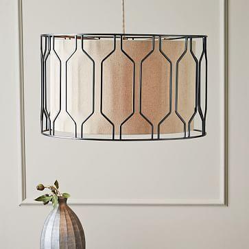 "Metal Honeycomb Drum Pendant #westelm, $299 (Sale $239), for over pub table in eat-in kitchen area.  22"" Diameter, 13.25""H"