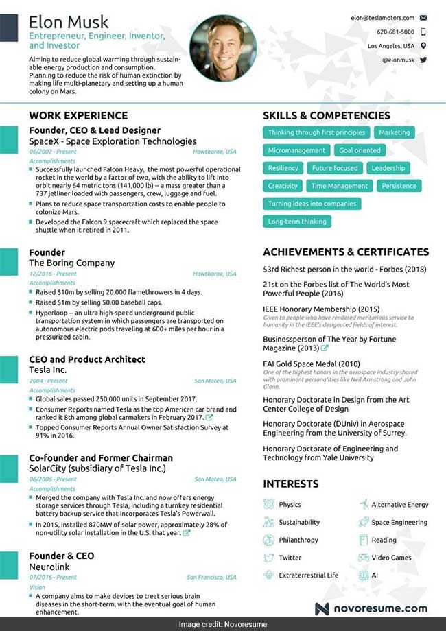 Elon Musk S Impressive Resume Fits Into Just One Page Why