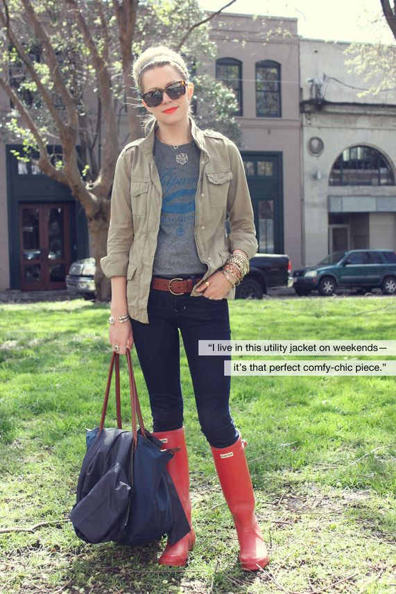 Hunter bootsFall Clothing, Weekend Outfit, Hunter Boots, Red Boots, Utility Jacket, Rain Boots, Tall Boots, Hunters Boots, Red Hunters