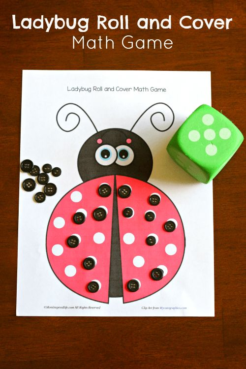 Ladybug Roll and Cover Math Game. Teaches preschoolers counting and addition.: